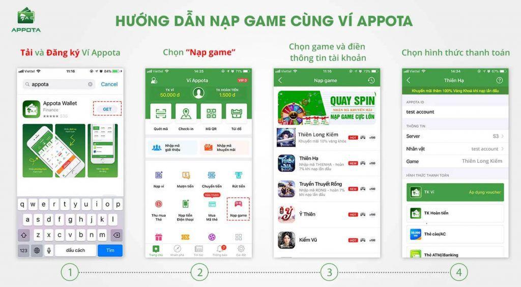 Hoàn tiền nạp game Thiên Long Kiếm qua Ví Appota - Ví điện tử tốt nhất 2018 (2)