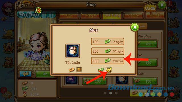 Hướng dẫn cách mua vật phẩm và gia hạn đồ vật trong Gunny Mobi (3)