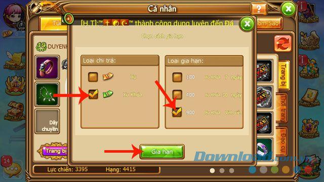 Hướng dẫn cách mua vật phẩm và gia hạn đồ vật trong Gunny Mobi (7)