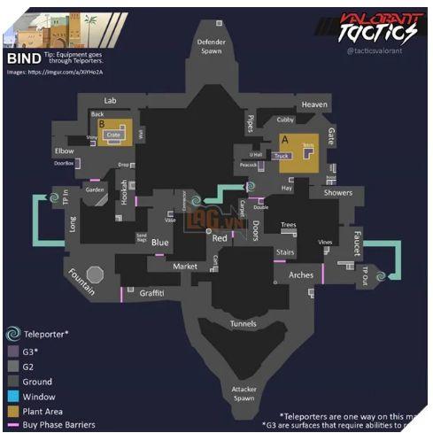 Chi tiết cách chơi map Bind, mẹo chơi bản đồ Bind trong Valorant (2)