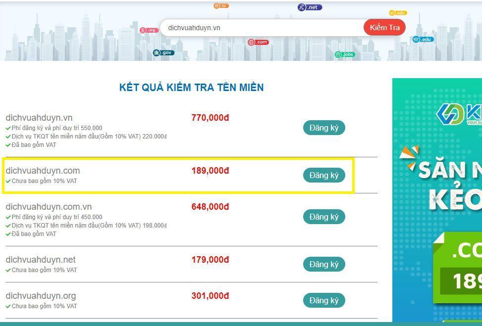 KDATA giảm giá tên miền .com, .vn, .net, .xyz giá chỉ từ 29K (2)
