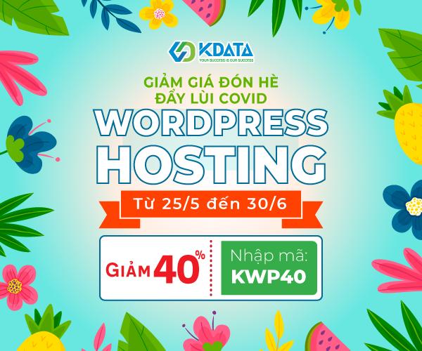 KDATA khuyến mãi khủng cho WordPress Hosting, giảm giá 40%